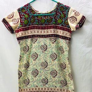 Boho Dress Burgundy Cream Print Tunic Handmade